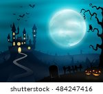 halloween night background with ... | Shutterstock . vector #484247416