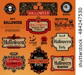 collection of halloween labels... | Shutterstock .eps vector #484247530