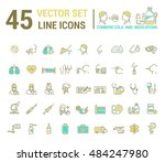 vector graphic set in linear... | Shutterstock .eps vector #484247980