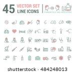 vector graphic set in linear...   Shutterstock .eps vector #484248013