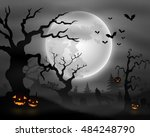 halloween night background with ... | Shutterstock . vector #484248790