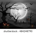 halloween night background with ... | Shutterstock . vector #484248790