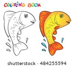 hand drawn vector goldfish in... | Shutterstock .eps vector #484255594