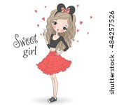 young  beautiful  cute girl in... | Shutterstock .eps vector #484257526