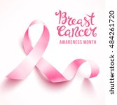 realistic pink ribbon  breast... | Shutterstock .eps vector #484261720