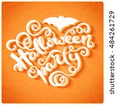 happy halloween card with hand... | Shutterstock .eps vector #484261729