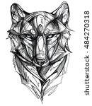 wolf graphic portrait face... | Shutterstock . vector #484270318