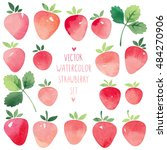 watercolor vector strawberry set | Shutterstock .eps vector #484270906