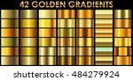 set of 42 golden color vector... | Shutterstock .eps vector #484279924