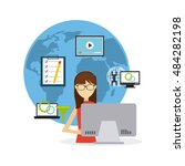 software developer and... | Shutterstock .eps vector #484282198
