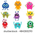 vector set of cute cartoon... | Shutterstock .eps vector #484283293