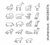 various animal icon. thin line...