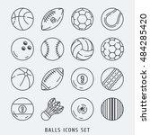 balls icons set vector lines ... | Shutterstock .eps vector #484285420