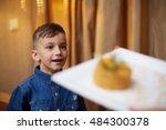 family celebrating children's... | Shutterstock . vector #484300378