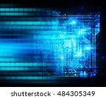 future technology  blue cyber... | Shutterstock . vector #484305349