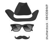 vintage hat  glasses ... | Shutterstock .eps vector #484308469
