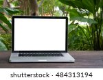 conceptual workspace  laptop... | Shutterstock . vector #484313194