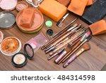 makeup brush and cosmetics set... | Shutterstock . vector #484314598