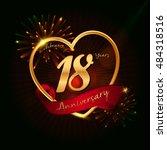 18 years anniversary logo... | Shutterstock .eps vector #484318516