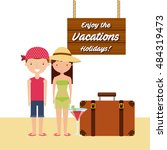 enjoy the vacations holidays... | Shutterstock .eps vector #484319473