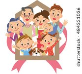 house three generation family | Shutterstock .eps vector #484321036
