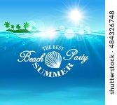 beach party poster. summer...   Shutterstock .eps vector #484326748