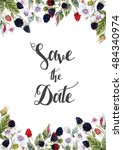 watercolor vector invitation... | Shutterstock .eps vector #484340974