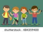 children kids and their hobbies.... | Shutterstock .eps vector #484359400