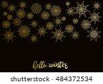 winter golden snowflakes on new ... | Shutterstock .eps vector #484372534