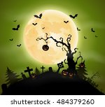 halloween background with... | Shutterstock .eps vector #484379260