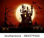 halloween night background with ... | Shutterstock .eps vector #484379560