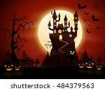 halloween night background with ... | Shutterstock . vector #484379563