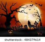 halloween night background with ... | Shutterstock .eps vector #484379614