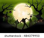 halloween background with...   Shutterstock .eps vector #484379953
