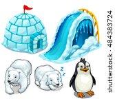 set of buildings of ice... | Shutterstock .eps vector #484383724