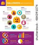 halloween infographics. flat... | Shutterstock .eps vector #484391074