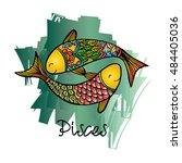 zodiac sign pisces. zentangle...   Shutterstock .eps vector #484405036