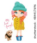 cute girl and dog vector design....   Shutterstock .eps vector #484417696