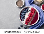 mixed smoothie bowl with fresh... | Shutterstock . vector #484425160