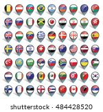 markers with flag for map ... | Shutterstock .eps vector #484428520