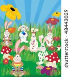 easter bunnies playing  at the... | Shutterstock .eps vector #48443029