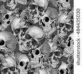 Seamless Vector Skulls In...