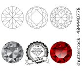 set of royal cut jewel views... | Shutterstock .eps vector #484440778