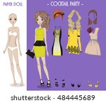 cartoon girl doll with clothes... | Shutterstock .eps vector #484445689