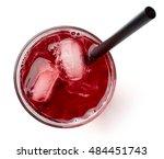 glass of fresh cranberry juice... | Shutterstock . vector #484451743