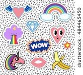 set of romantic pink hippy...   Shutterstock .eps vector #484465450