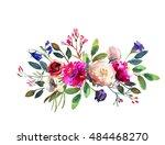 watercolor winter floral... | Shutterstock . vector #484468270