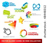 collection of glossy 3d vector...