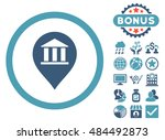 Bank Building Pointer icon with bonus pictures. Vector illustration style is flat iconic bicolor symbols, cyan and blue colors, white background.