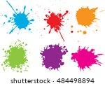 colorful paint splatters.paint... | Shutterstock .eps vector #484498894